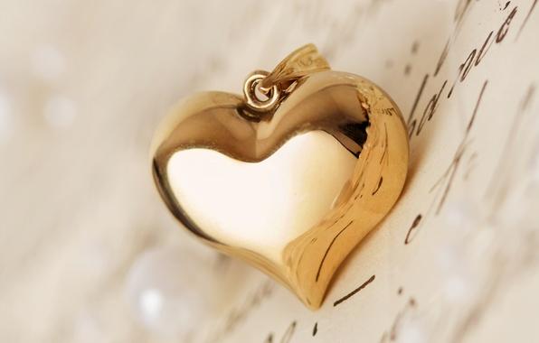 Picture letter, macro, heart, pendant, heart, gold