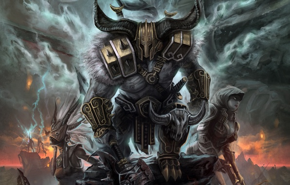 Photo wallpaper Diablo 3, Reaper of Souls, Diablo III: Reaper of Souls, Background, Barbarian, Fan Art, Demon ...
