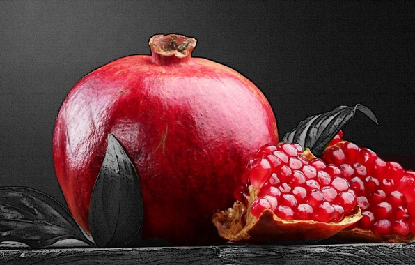 Picture red, fruit, black and white, Pomegranate