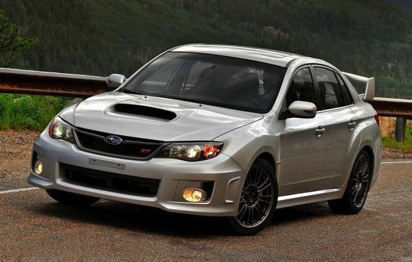 Picture road, grey, Subaru, Impreza, WRX, STI, Subaru, Impreza, the front, Zedan