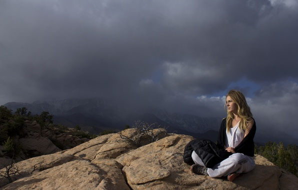 Picture girl, mountains, clouds, pose, vegetation