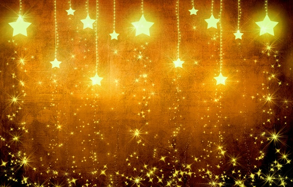 Picture stars, light, yellow, background, gold, holiday, texture, brown