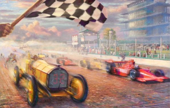 Picture machine, speed, flag, race, painting, cars, race, Thomas Kinkade, Thomas Kinkade, century, A Century of …