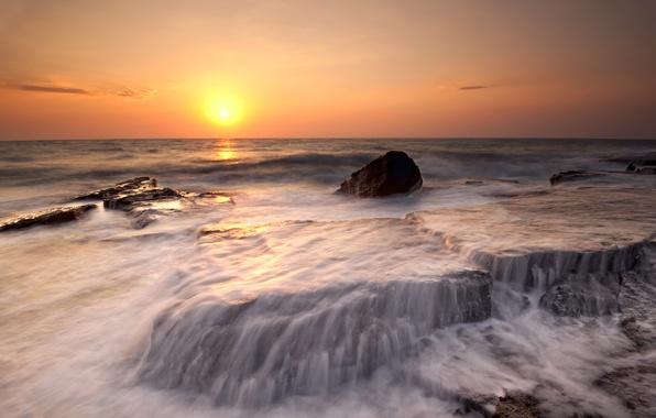 Picture sea, beach, water, the sun, sunset, orange, stones, shore, coast, the evening, surf, beach, threads, …