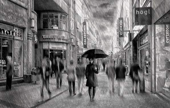 Picture rain, street, umbrella, art, Lady Rain