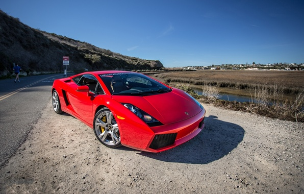 Picture road, red, markup, shadow, red, gallardo, lamborghini, front view, Lamborghini, Gallardo, lp540-4, road sign
