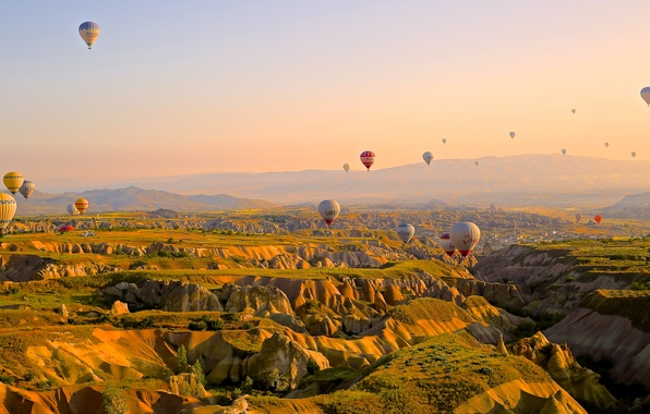 Picture the sky, flight, mountains, balloon, competition, ball, height, journey, ballooning