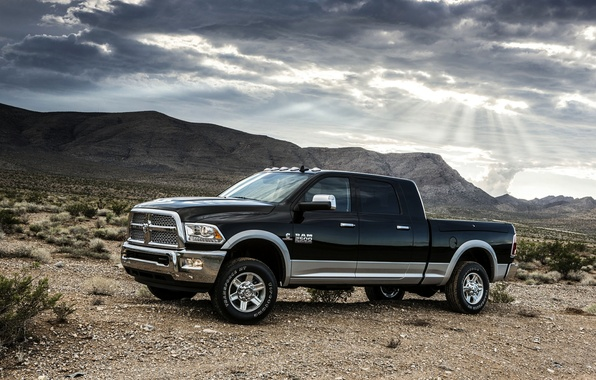 Picture The sky, Auto, Mountains, Black, Desert, Dodge, Pickup, 1500, Ram, Side view