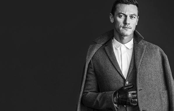 Picture photo, background, actor, black and white, jacket, journal, glove, coat, Luke Evans, Luke Evans, Rodolfo …
