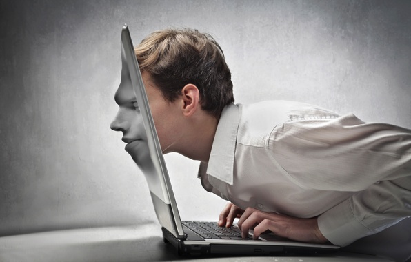 Picture face, creative, male, laptop