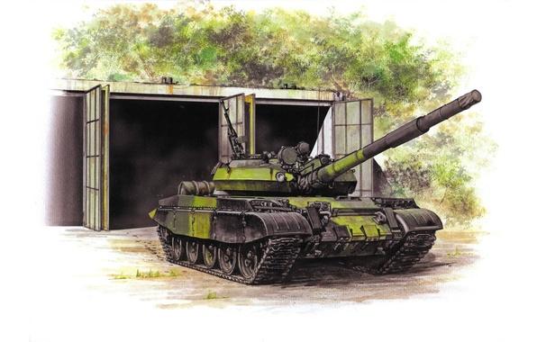 Picture figure, art, Soviet medium tank, T-62
