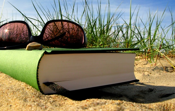 Picture sand, summer, grass, stay, glasses, book, bookmark