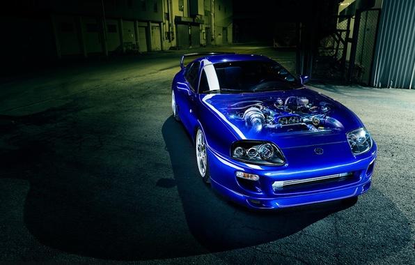 Picture car, engine, blue, toyota supra