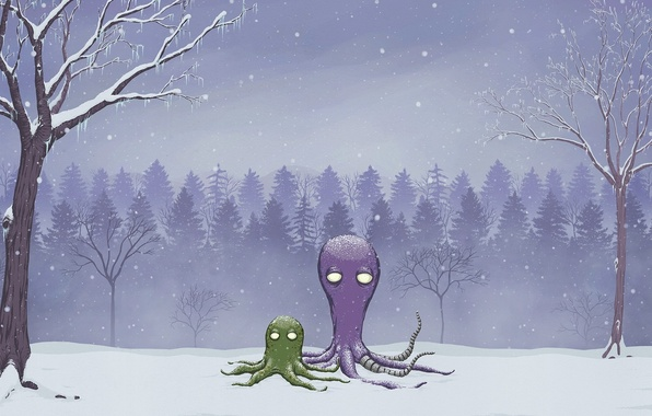 Picture winter, forest, snow, figure, octopus, rob sheridan
