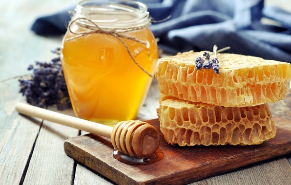 Picture cell, honey, spoon, Bank, Board, honey, lavender, jar