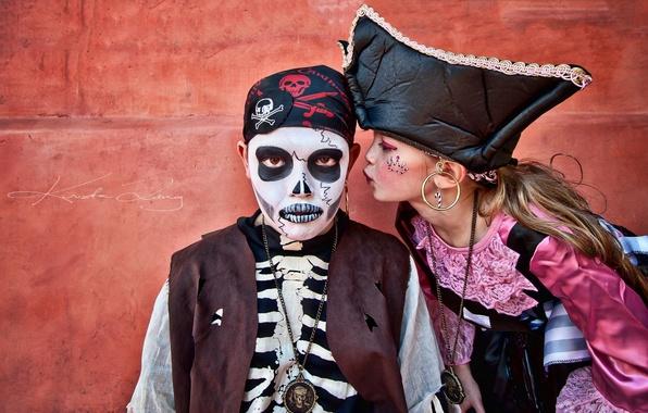 Picture children, boy, girl, pirates, carnival, costumes