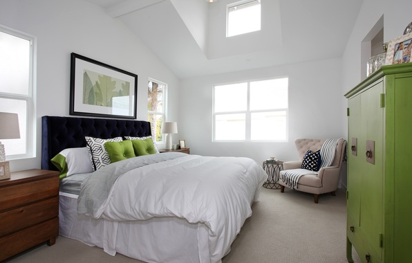 Wallpaper pillow, interior, bedroom, photo, bed, design ...