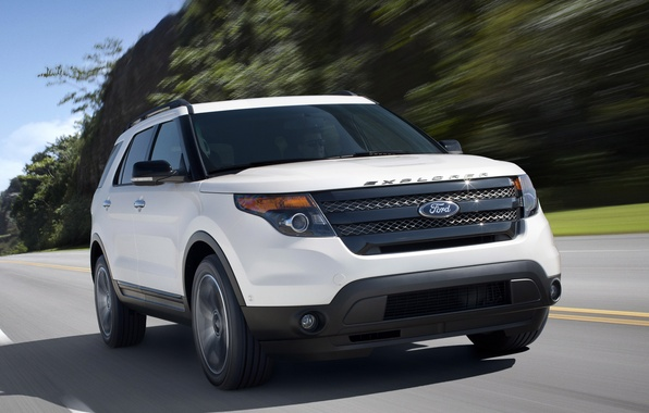 Picture road, white, the sky, trees, sport, jeep, sport, ford, Ford, the front, explorer, Explorer