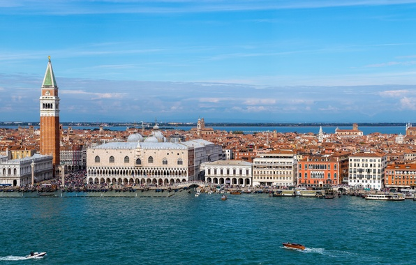Picture building, tower, Italy, panorama, Venice, channel, boats, promenade, Italy, Palace, Venice, The Grand canal, The …
