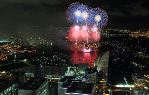 Picture night, the city, lights, home, salute, Japan, fireworks, Yokohama