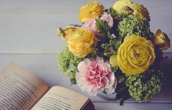 Picture bouquet, book, carnation, hydrangea, Ranunculus