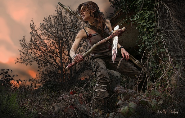 Picture the sky, leaves, girl, trees, sunset, branches, weapons, hair, art, Tomb Raider, Lara Croft, Lara …