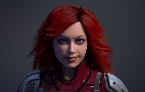 Picture look, girl, red, hair, costume, lips, mole, AMD, grin, computer graphics, CryEngine, techno-demo, Ruby, TressFx, …