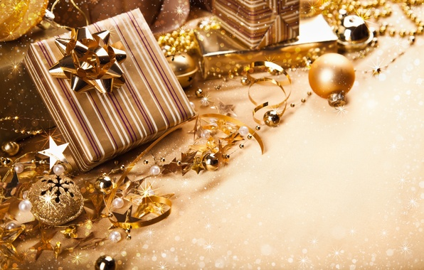 Picture balls, tape, gold, New Year, Christmas, gifts, the scenery, Christmas, holidays, box, New Year, bows