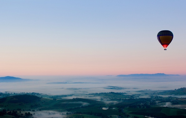 Picture fog, balloon, view, height, morning