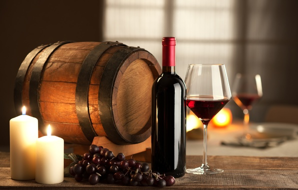 Picture wine, red, glass, bottle, candles, grapes, barrel