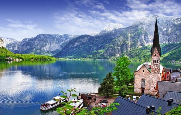 Picture trees, landscape, mountains, nature, lake, home, boats, Austria, roof, Alps, Church, The Salzkammergut, Hallstatt, Austria, ...