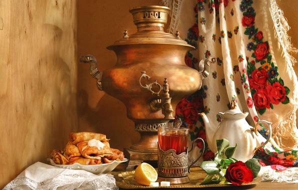 Picture lemon, tea, rose, kettle, still life, samovar, pancakes, shawl, ethno, Carnival