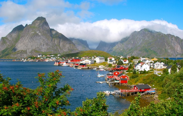 Picture clouds, mountains, the city, river, Norway, Nordland, Moskenes