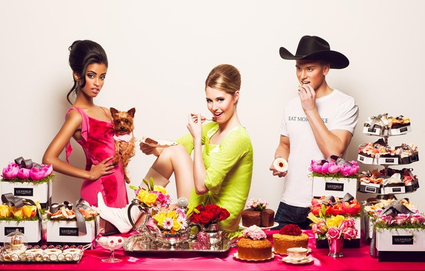 Picture flowers, girls, candy, gifts, guy, cakes