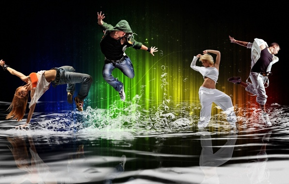 Picture energy, water, girl, squirt, bubbles, movement, people, mood, dance, guy, youth