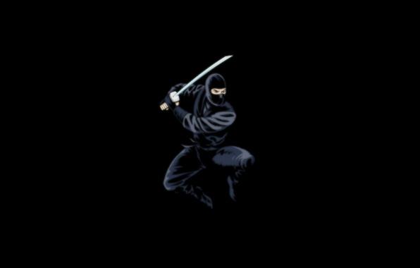 Picture the dark background, sword, ninja, black, ninja