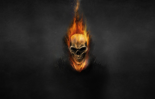Picture the dark background, fire, skull, chain, skeleton, Ghost Rider, Ghost rider