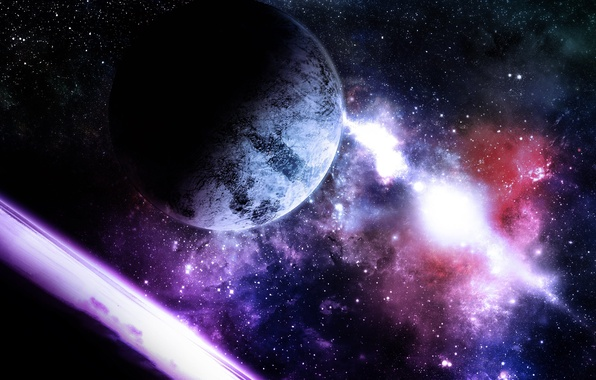 Picture light, stars, planets, violet, Sci FI