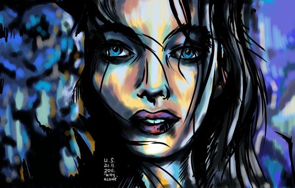 Picture hair, figure, Girl, chiaroscuro, US (artist)