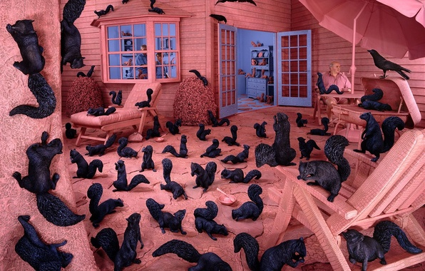 Picture Sandy Skoglund, black and whites, all pink, phobias