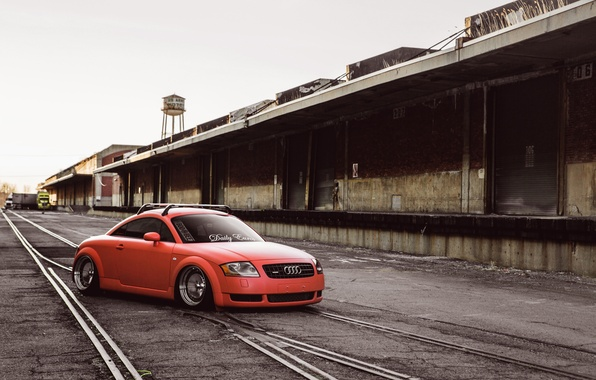 Picture Audi, Orange, Car, Tuning, Stance