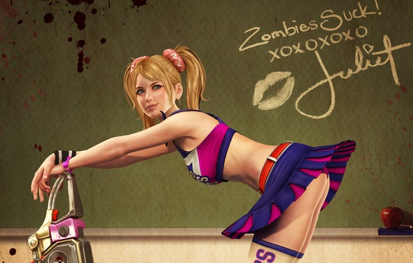 Picture ass, girl, smile, Apple, Board, Mel, chainsaw, Lollipop Chainsaw, Juliet Starling, Juliet Starling, cheerleader