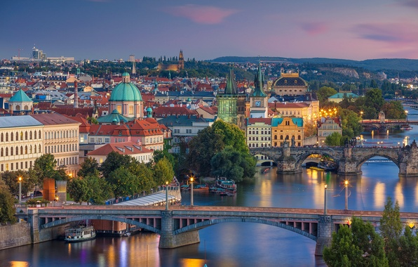Picture bridge, river, Prague, Czech Republic, panorama, Vltava