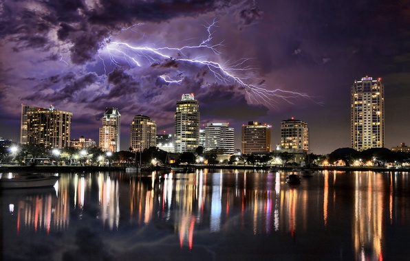 Picture the storm, the sky, night, clouds, the city, reflection, lightning