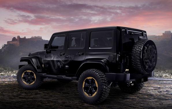 Picture Auto, Black, Dragon, concept, Dragon, SUV, Wrangler, Jeep