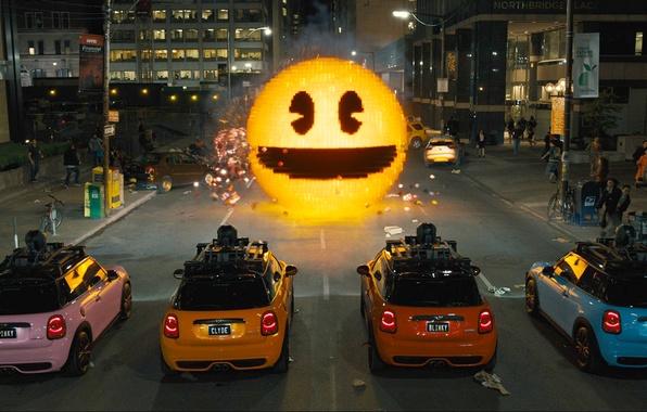 Picture machine, the city, people, Mini, Cooper, smile, Pixels