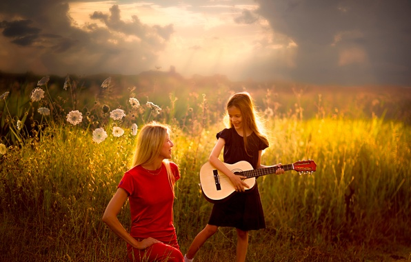 Picture guitar, girl, song, Dedicated to you