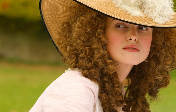 Picture girl, the film, hat, feathers, actress, Keira Knightley, curls, keira Knightley, the duchess, the Duchess