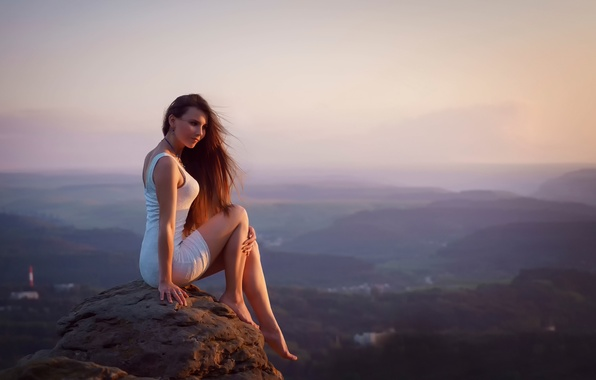 Picture girl, sunset, stone, view, height, dress, legs