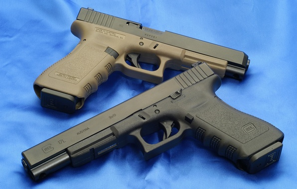 Picture Wallpaper, Background, Weapons, Glock, Glock, Wallpapers, Guns, Canvas, Guns, Weapons, 34OD, 34ОД, Blue, 17L, 17L